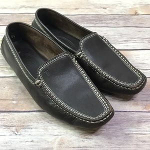 Tod's Dark Brown Leather Driving Moccasin Loafers